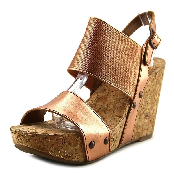 Lucky Brand Mumbah Women Open Toe Leather Bronze Wedge Sandal