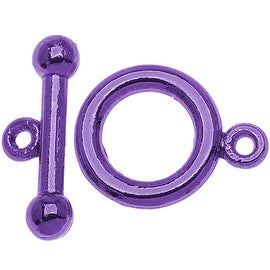 Purple Color Pewter  - Toggle Clasps 6mm (4 Sets)
