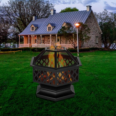 "24"" Hexagonal Shaped Iron Brazier Wood Burning Fire Pit"