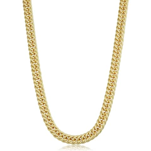 Solid 14k Yellow Gold Filled 7 millimeter Double Curb Link Chain Necklace For Men and Women