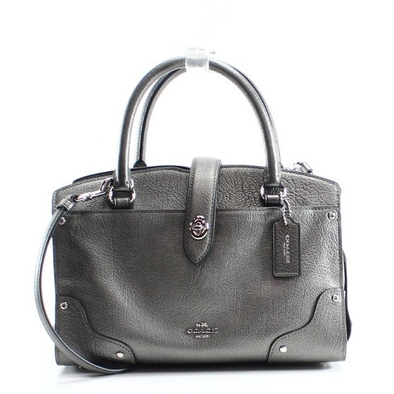 Shop Coach NEW Silver Gunmetal Pebble Leather Mercer Satchel 24 Bag Purse -  Free Shipping Today - Overstock - 19769716 e5143e69aa6fe