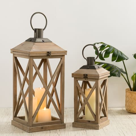 "Glitzhome Set of 2 Modern Farmhouse Wooden Lantern - 24""+17"""
