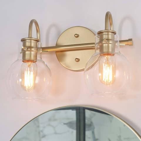 "Modern Gold 2-light Bathroom Vanity Lights Glass Wall Sconces Bell Shade for Powder Room - L 13""x W 7""x H 9"""