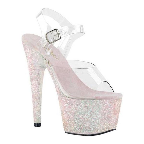 04cbfb33a524 Pleaser Women's Adore 708HMG Ankle Strap Sandal Clear/Opal Multi  Glitter