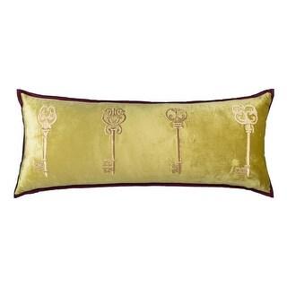 100% Handmade Imported Antique Chamber Key Throw Pillow Cover, Light Golden Green, Purple Trim