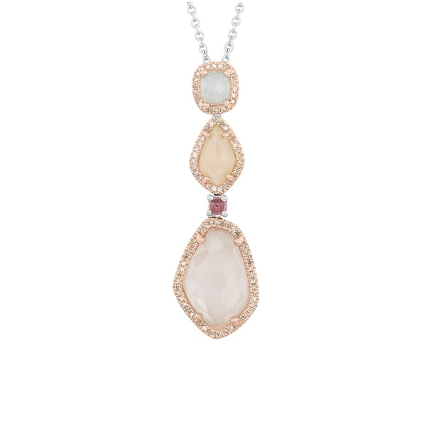 1/4 ct Diamond & Multi-Stone Tiered Pendant in Sterling Silver & 14K Gold - Pink