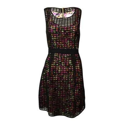 Jessica Simpson Women's Printed Sheer Grid A-Line Dress - Black Multi - 10