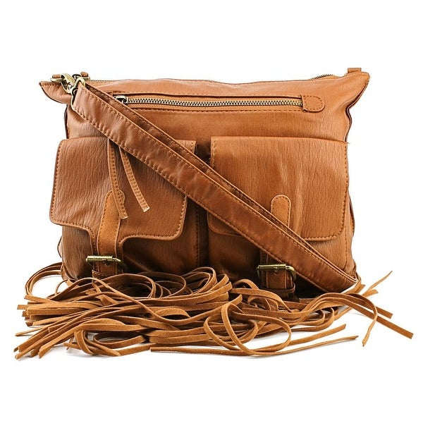 T-Shirt & Jeans Fringe Trim Crossbody Women Synthetic Messenger - Brown