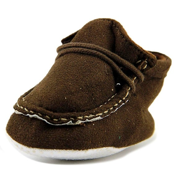 Luvable Friends Boys Faux Boot Infant Round Toe Canvas Brown Bootie