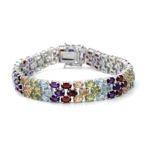 Sterling Silver Garnet Blue Sky Topaz Bracelet Size 8 Inch ct 26.22 - Bracelet 8''