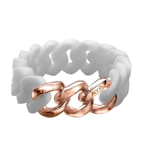 Silix by Aya White Silicon Bracelet with 18K Rose Gold-Plated Stainless Steel