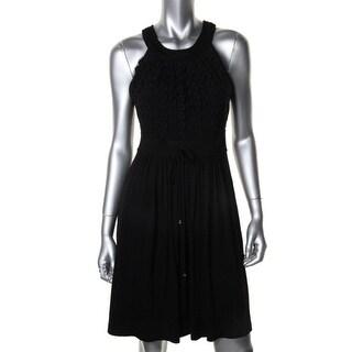 Calvin Klein Womens Jersey Crochet Front Casual Dress - 10