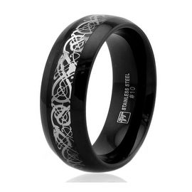 8mm Black Stainless Steel Ring with Dragon Inlay Design - Size 10
