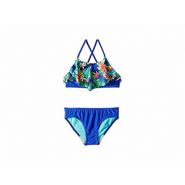 f6dd916602a4b Shop Speedo Blue Girl's Size 12 Bikini Set Floral Printed Popover Swimwear  - Free Shipping On Orders Over $45 - Overstock - 27978613