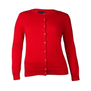 Tommy Hilfiger Women's Embellished Button Down Cardigan (XL, Racing Red) - xL
