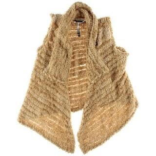 Kensie Womens Faux Fur Asymmetrical Vest - L