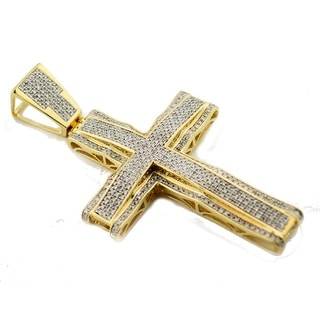 Diamond Cross Real Gold 10K Mens 2.5 Inch Tall 1.15ctw Pave Set Mens Cross Charm (i1/i2, I/j) By MidwestJewellery - White
