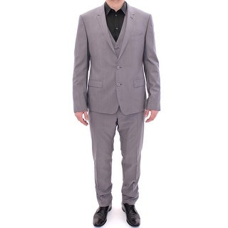 Dolce & Gabbana Gray Three Piece Wool Silk MARTINI Suit - it52-xl