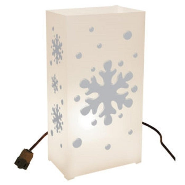 Set of 10 Lighted Winter Snowflake Christmas Luminaria Pathway Markers - WHITE