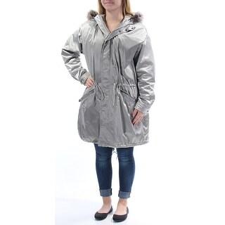 RALPH LAUREN $325 Womens New 1339 Silver Faux Fur Puffer Casual Coat M B+B