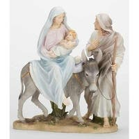 "10"" Galleria Divina Religious Mary, Joseph and Baby Jesus Flight to Egypt Figure - Brown"