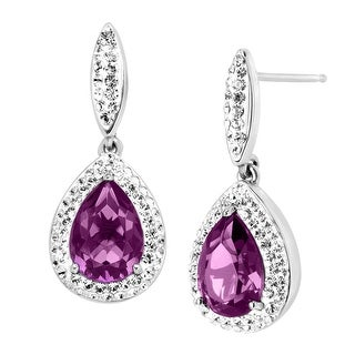 Crystaluxe Pear-Shape Drop Earrings with Purple Swarovski elements Crystals in Sterling Silver