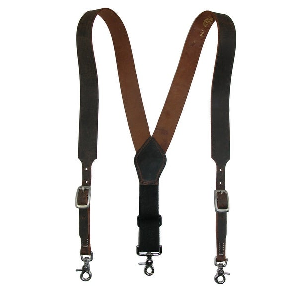 3 D Belt Company Men's Leather Distressed Suspender with Metal Swivel Hook Ends