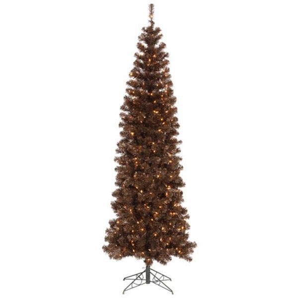 12' Pre-Lit Mocha Brown Artificial Pencil Tinsel Christmas Tree – Clear Lights