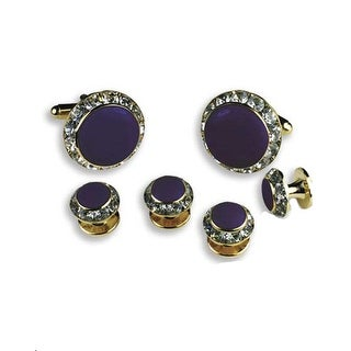 Crystal Cufflinks and Studs with Purple Center