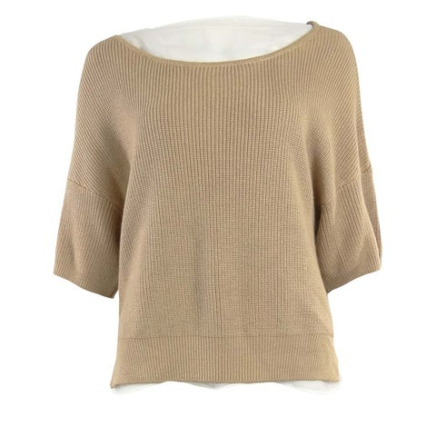 Grace Elements Women's Knit Dolman Chiffon Trim Sweater - warm taupe/white