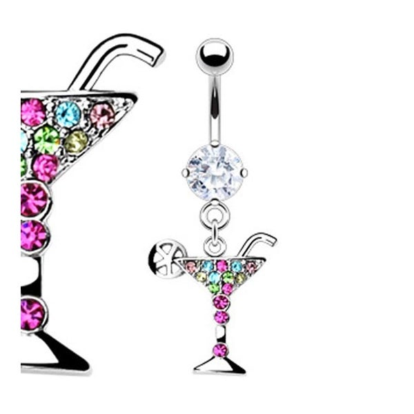 316L Prong-Set Gem Navel Belly Button Ring with Multi Color Gemmed Martini Glass Dangle