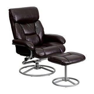 Offex Contemporary Brown Leather Recliner And Ottoman With Metal Base
