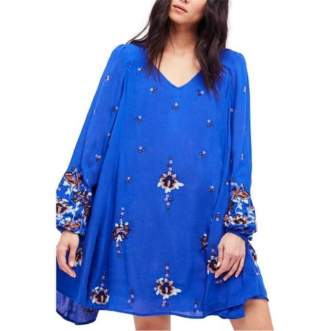 Free People Womens Oxford Embroidered A-Line Dress