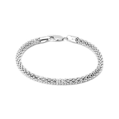 "Pori Jewelers Sterling Silver 7.5"" Coreana AGB Chain Bracelet"