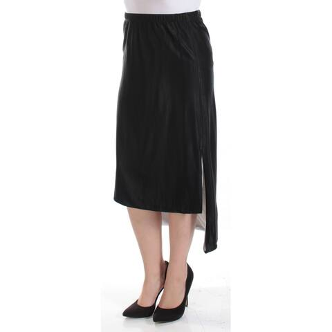 DKNY Womens Black Tea Length Hi-Lo Skirt Size: XS