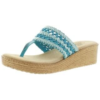 Sbicca Harbor Women's Raffia Wedge Thong Sandals Handmade USA