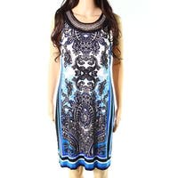 Sandra Darren Blue Black Womens Size 8 Paisley-Print Sheath Dress