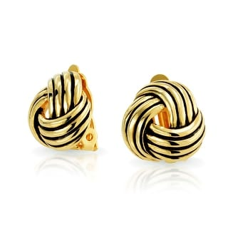 Bling Jewelry Love Knot Woven Clip On Earrings Antique Style Gold Plated Brass