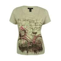 Style & Co. Women's Embellished Short Sleeve Top - Jadore Bike - 0X