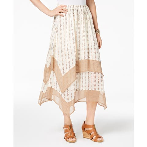 Style & Co Women's Printed Tiered Comfort Waist Skirt Diamond Stripe Size Large - Beige