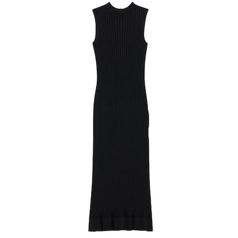 Theory Womens Black Ribbed Flared Midi Dress