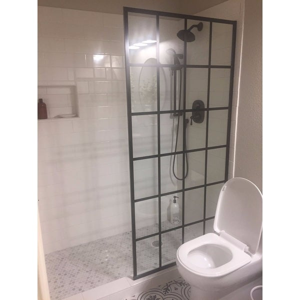 French Linea Frameless Shower Door 34 In X 72 Open Entry Design Free Shipping Today 19508807