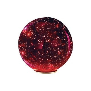 Lighted Mercury Glass Ball Sphere - Red - small