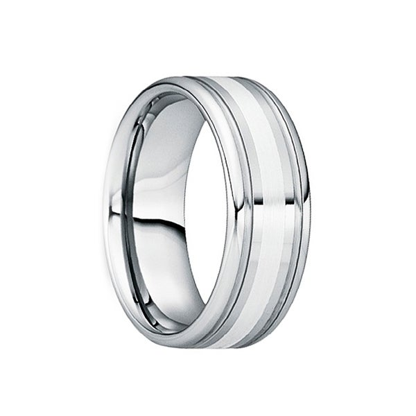 SEVERIANUS Dual Groove Polished Tungsten Wedding Band with Satin Platinum Inlaid Center by Crown Ring - 6mm