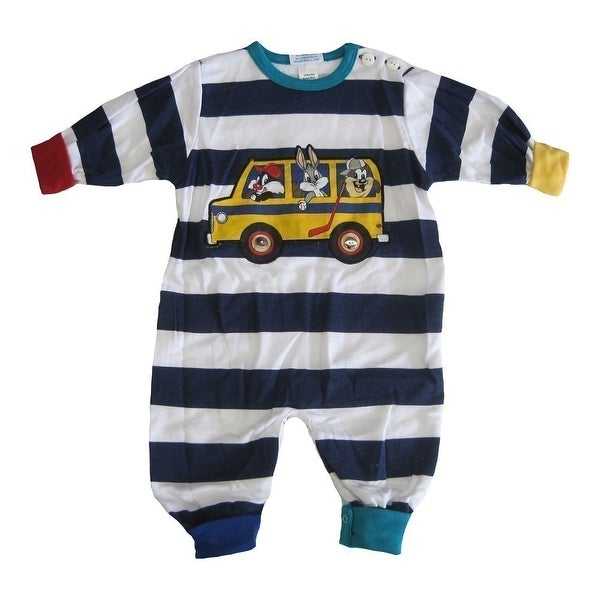 WB Baby Boys Navy White Stripe Looney Tunes Print Snap Closure Bodysuit 12-24M