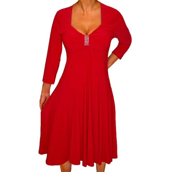 Funfash Plus Size Women Empire Waist A Line Red Dress New Made in USA