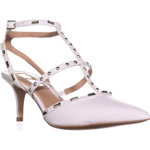 I35 Carma Studded T-Strap Pointed Toe Heels, Bright White