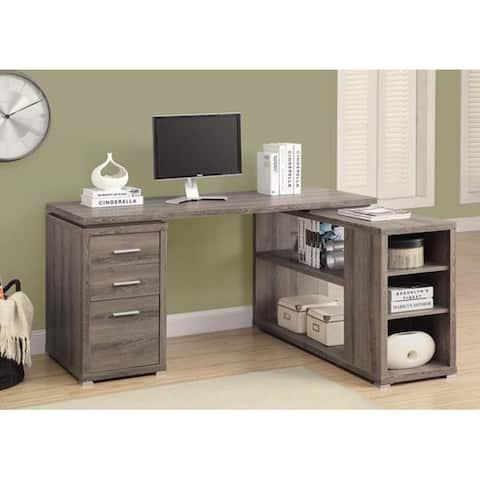 Offex Dark Taupe Reclaimed-Look Left / Right Facing Corner Desk