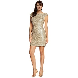 Adrianna Papell Sequin Chemical Lace Cap Sleeve Shift Cocktail Dress - 8
