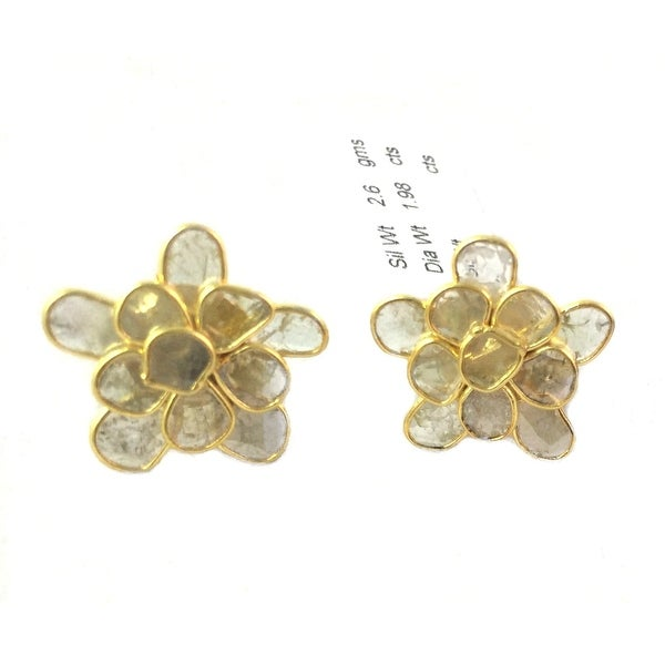 Sterling Silver Genuine Slice Diamond Flower Studs Earring in Gold Rhodium